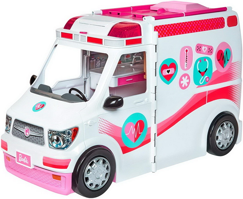 Barbie 2 in 1 Krankenwagen Spielset mit Licht & Sound